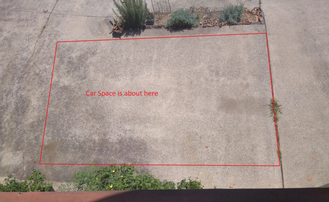 Parking space behind flat complex in South Brisbane
