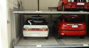 Car Stacker in lock up garage parking on Clifton Street in Prahran Victoria