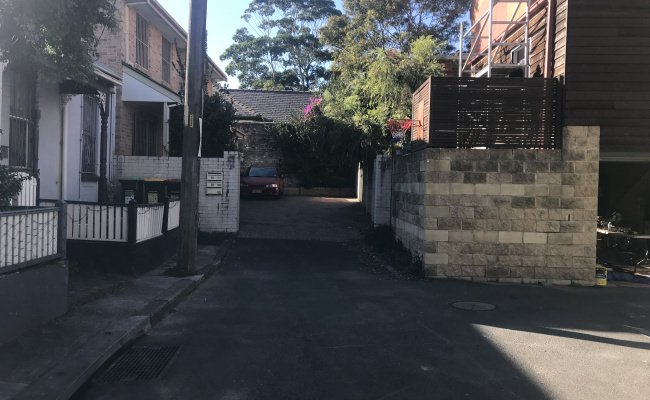 Driveway parking on Little Cleveland Street in Redfern New South Wales